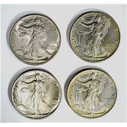 4-1943 WALKING LIBERTY HALF DOLLARS, CH BU