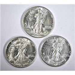 1941-D, 44-D & 45-D WALKING LIBERTY HALVES CH BU+