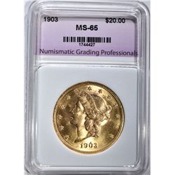 1903 $20.00 GOLD LIBERTY, NGP GEM BU