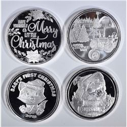 4 - 1oz .999 CHRISTMAS ROUNDS; 2018 SANTA