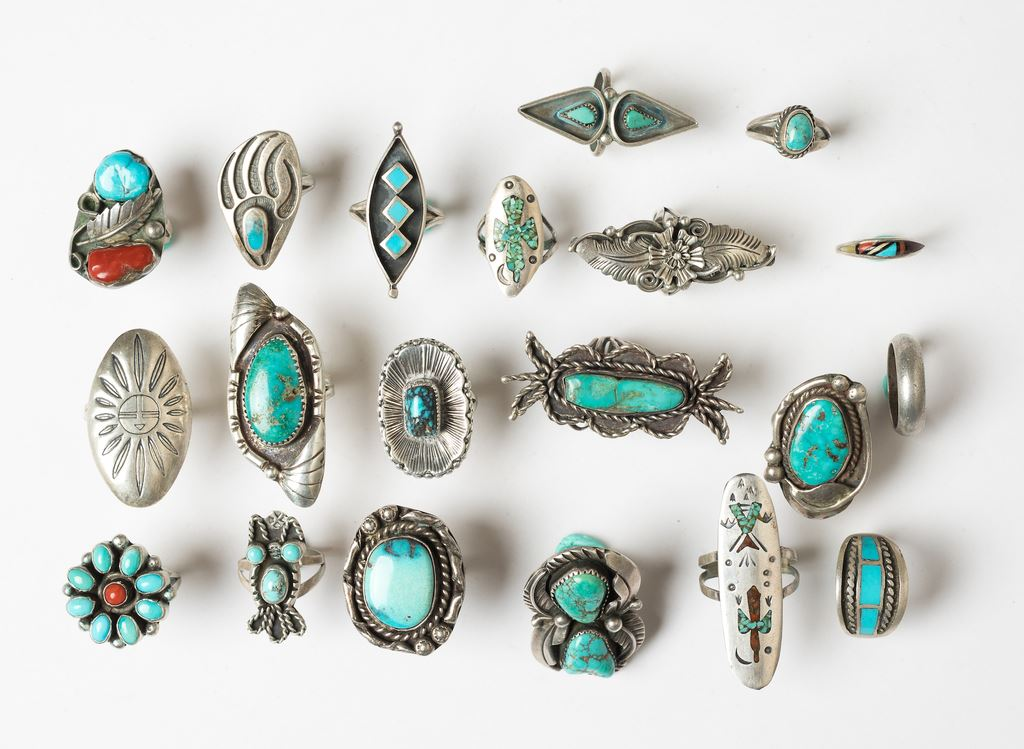 Vintage Native American Sterling Silver Turquoise Jewelry Lot
