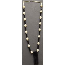 IVORY AND BLACK CORAL NECKLACE