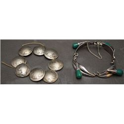MEXICAN JEWELRY AND BUFFALO HEAD PINS