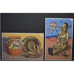 TWO SAN ILDEFONSO INDIAN PAINTINGS (HENRY AQUILAR)