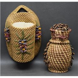 TWO  COUSHATTA INDIAN BASKETS