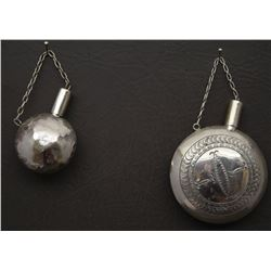 TWO NAVAJO INDIAN SILVER CANTEENS