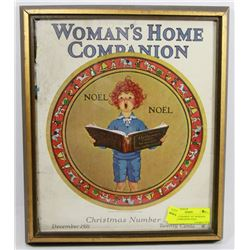 ANTIQUE FRAMED 1921 WOMANS HOME COMPANION NOEL
