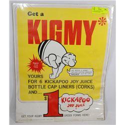 1966 KICKAPOO JOY JUICE ADVERTISING SIGN