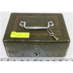 OLD VINTAGE LOCKING SAFETY BOX WITH KEYS