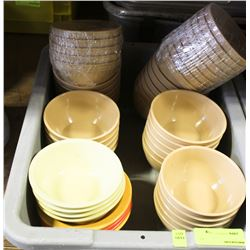 """BUS PAN OF ASSORTED 5"""" MISTRO/CAMBRO PLASTIC BOWLS"""