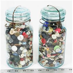 2 PERFECT SEAL JARS FILLED WITH OLD BUTTONS.