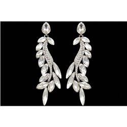 Rhodium Plated Clear Crystal Rhinestone Wedding Drop Earrings