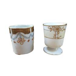 Vintage Set, Nippon Gilt Floral Toothpick Holders