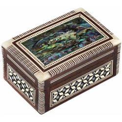 Leolana Egyptian Mother of Pearl & Paua Shell Inlaid Handmade Jewelry Box-Ring