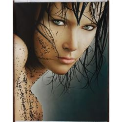 Signed Photo-realism Oil on Canvas, Brunette Model