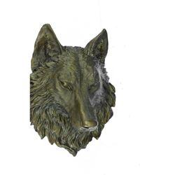 "Wall Mounted Wolf Head Bronze Bust 17"" x 13"""