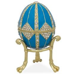 "3.15"" Crystal Rhombus On Blue Enamel Faberge Inspired Egg"