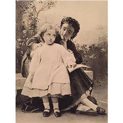 1880's Photogravure, The Reading Lesson