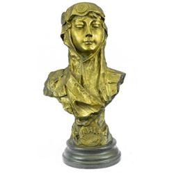 Art Deco Gilt Bronze Female Goddess Bust Bronze Sculpture Great Detail Statue