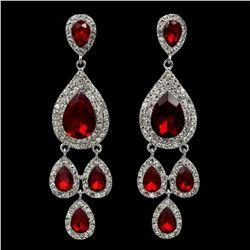 Rhodium Plated Red Crystal Rhinestone Chandelier Drop Dangle Earrings