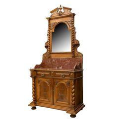 French Henri Ii Mirrored Washstand Dresser