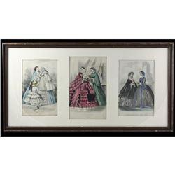 19thc Hand-colored Ladies Fashion Plates