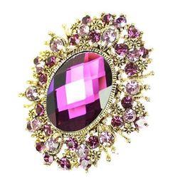 Rhinestone Crystal Amethyst Purple Brooch.