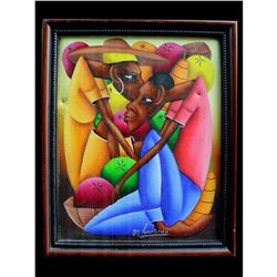Jean Bruno Louisius Signed Haitian Acrylic On Canvas 8 X 10