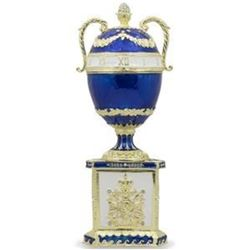 """1895 Blue Serpent Clock Russian Faberge-Inspired Egg 7"""""""