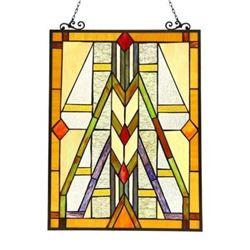 """""""MENAHEM"""" Tiffany-style Glass Window Panel 17.5x25"""