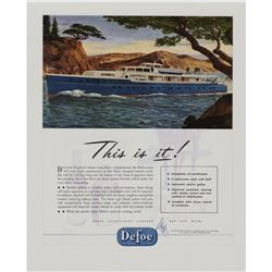 Original c1946 Defoe Luxury Yacht Advertisement