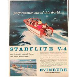 1958 Evinrude Outboard Boat Motors Starflite V-4 Magazine Ad