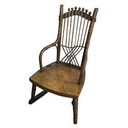19thc Primitive Child's Cane Rocking Chair