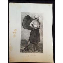 1880's Photogravure Print, The Chicken Woman