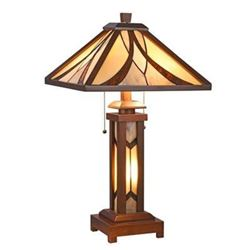 """GORDON Tiffany-style Mission 3 Light Double Lit Wooden Table Lamp 15"""" Shade"""