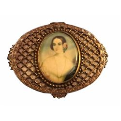 Antique Bronze And Gold Gilt Miniature Portrait Trinket Box