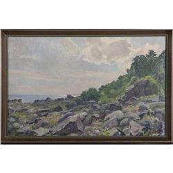 Signed Danish Coastal Landscape Oil Painting