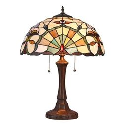 """ADDIE Tiffany-style 2 Light Victorian Table Lamp 16"""" Shade"""