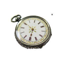 Late 19thc Ladies Swiss Silver Pocket Watch