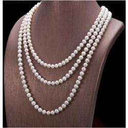 """50"""" Aaa 7-8mm Aaa Natural South Sea White Pearl Necklace 14k Gold Clasp"""