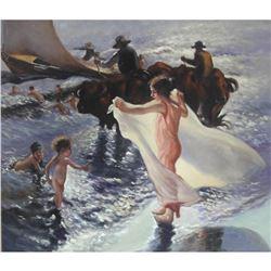 Student of Lambert, Sea Bathing, Oil Painting