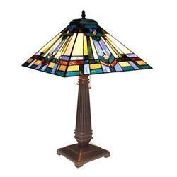 "RWIN Tiffany-style 2 Light Mission Table Lamp 16"" Shade"
