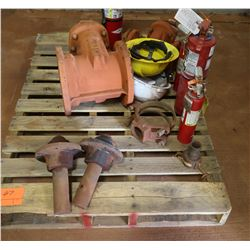 Contents of Pallet: Valve, Fire Extinguisher, Hard Hats, etc.
