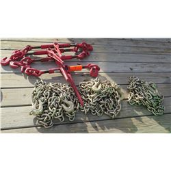 Qty 4 Chain Binders and 3 Chains