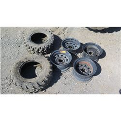 Qty 4 ATV Rims & 2 ATV Tires