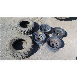 Qty 4 ATV Rims & 2 ATV Tires