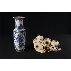 A Blue-and-White Hexagonal Vase and a Dog Ceramics Decoration.
