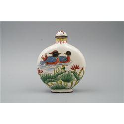 "A ""Mandarin Duck"" and ""Crane"" Pattern Snuff Bottle."