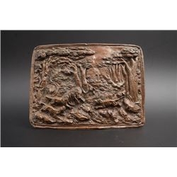 "An Old Western High Relief ""Hunting"" Bronze Plaque."