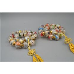 Two Round Beads Prayer's Necklace with Inner Painting of Arhats and Avalokitesvara.